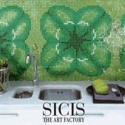 zöld mozaik a konyhában