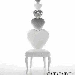 fehér szív szék