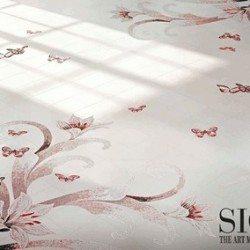 rózsaszín mozaik lepkék a padlón