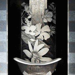 Fekete mozaik virág