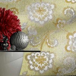 Sárga és szürke virágos mozaik trendek szerinti tónusban